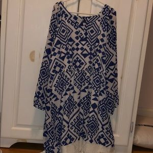 blue and white pattern dress lace at bottom